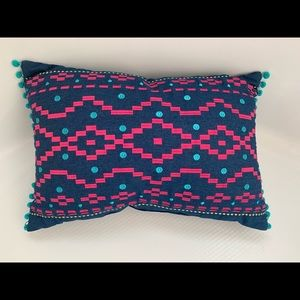 Navy, Pink, & Turquoise Throw Pillow